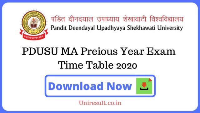 PDUSU MAPreious Year Exam Time Table 2020