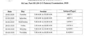 PDUSU bcom part 3rd exam time table 2020