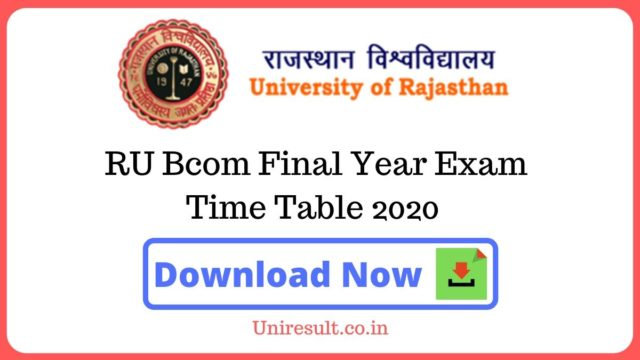 RU Bcom Final Year Exam Time Table 2020