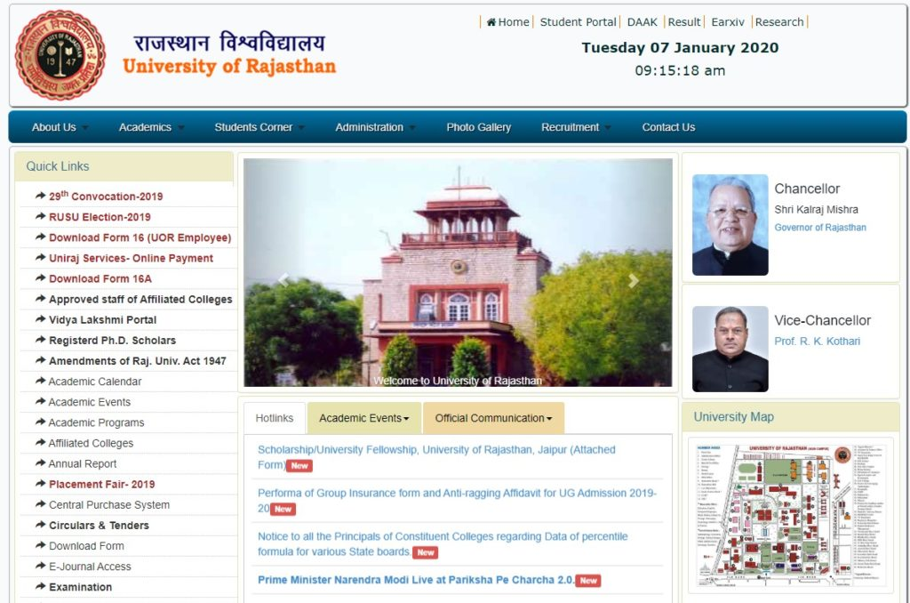 Rajasthan University exam time table 2020