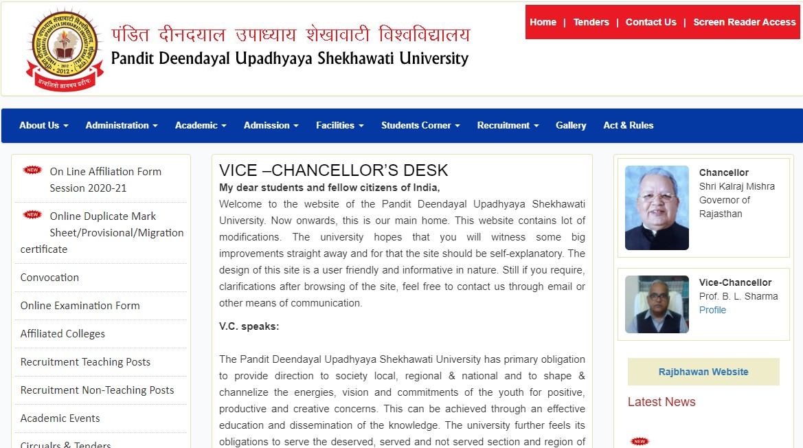Shekhawati university Exam Date Sheet 2020