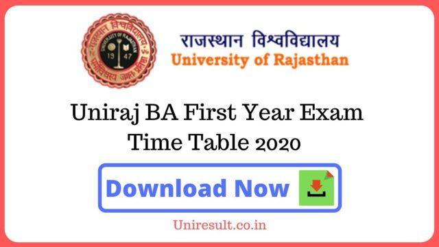 Uniraj BAFirst Year Exam Time Table 2020
