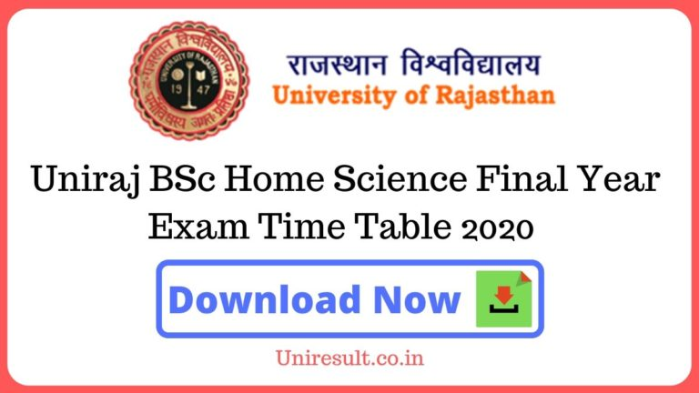 Uniraj BSc Home Science Final Year Exam Time Table 2020 pdf Download – Rajasthan University Date sheet