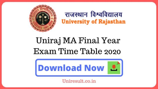 Uniraj MA Final Year Exam Time Table 2020