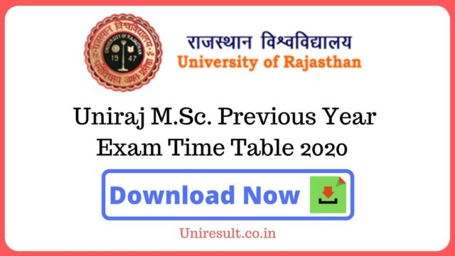 Uniraj MSc Previous Year Exam Time Table 2020