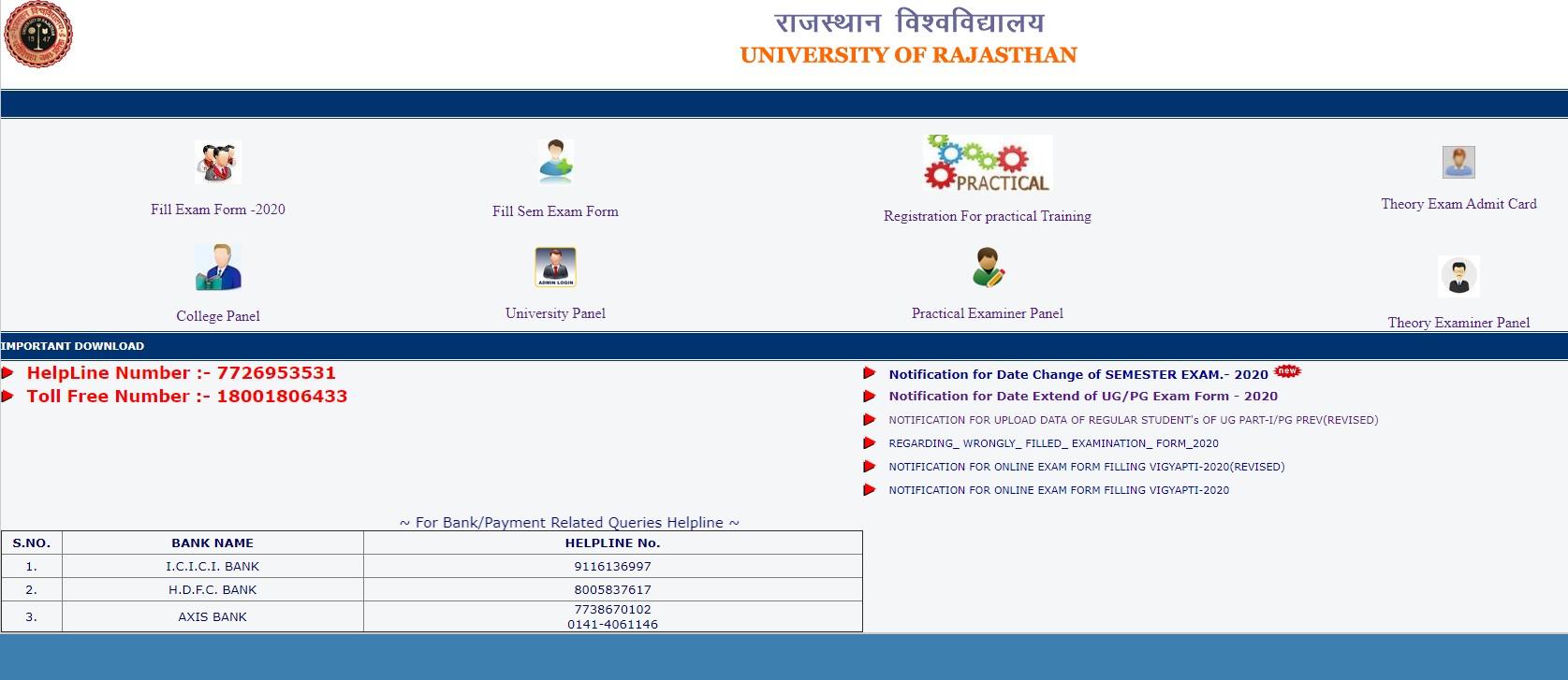 Rajasthan university exam date sheet 2020