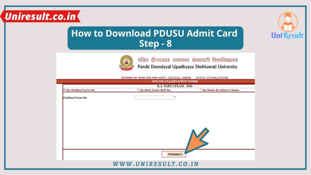 How to download shekhawati university ba bsc bcom 1st 2nd 3rd year admit card 2020 Step-8
