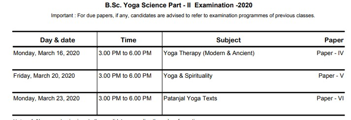 MGSU B.Sc. Part-II Yoga Science Exam Time Table 2020