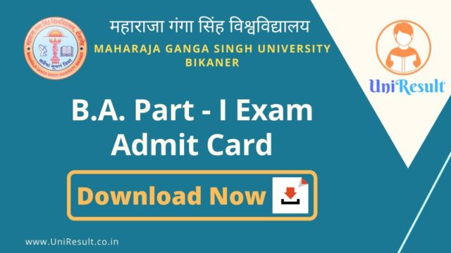 MGSU BA Part-I Exam Admit Card