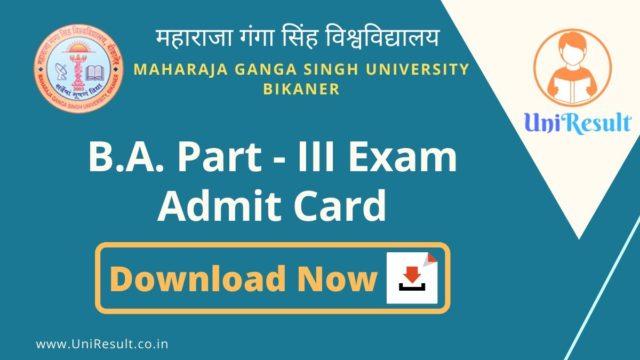 MGSU BA Part-III Exam Admit Card