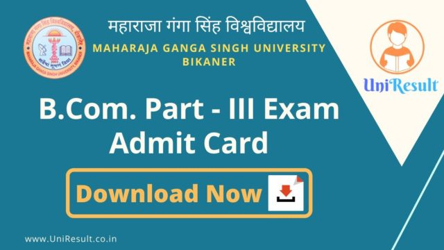 MGSU BCom Part-III Exam Admit Card