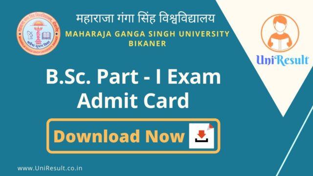MGSU BSc Part-I Exam Admit Card