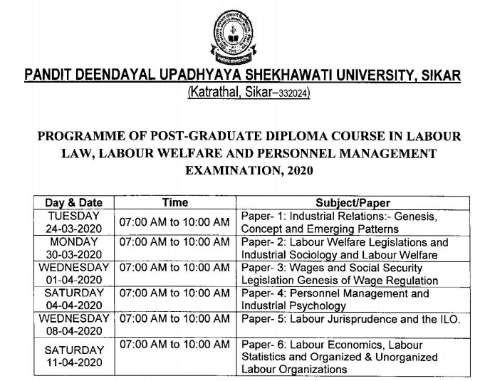 PDUSU PG in LABOR LAW, LABOR WELFARE AND PERSONNEL MANAGEMENT EXAM Time Table 2020