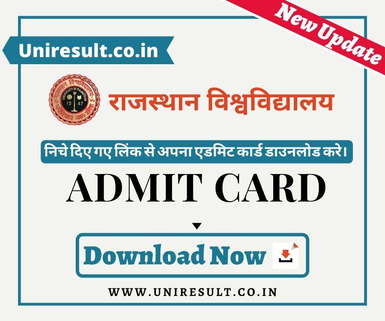Rajasthan University Admit Card link univraj.org