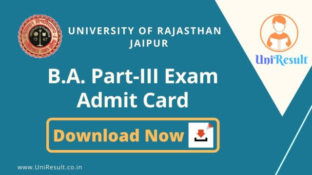 Rajasthan University BA 3rd year Admit Card