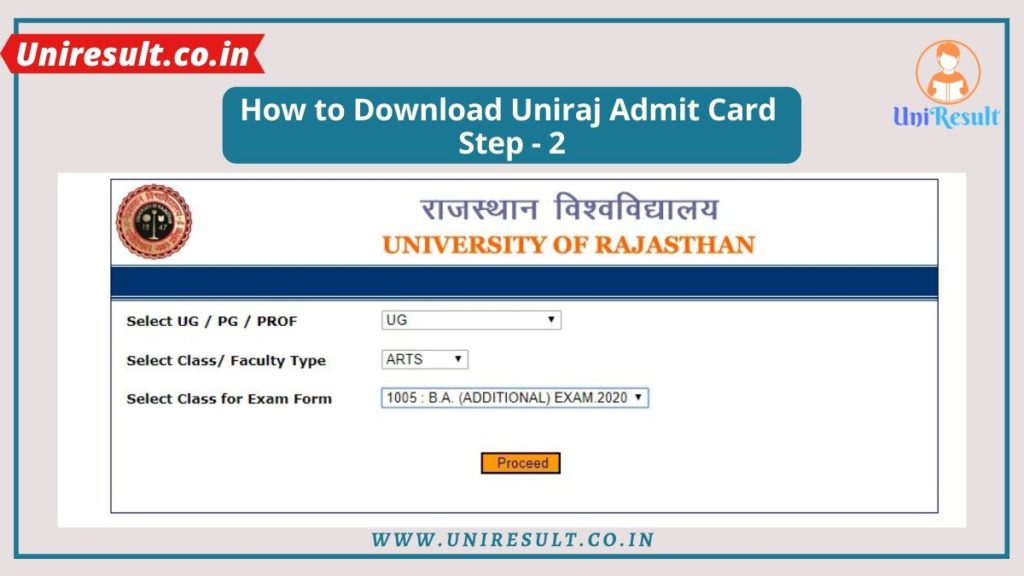 univraj.org Admit Card download