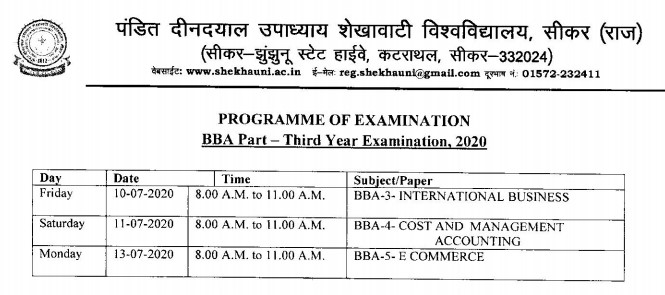 PDUSU Sikar New BBA Final Exam Time Table 2020