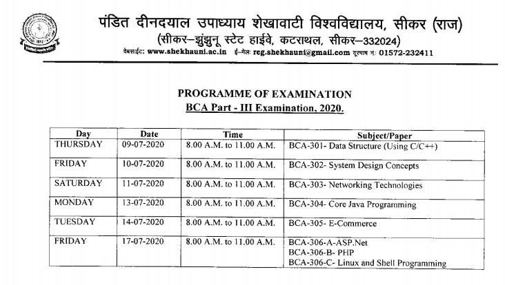 PDUSU Sikar New BCA Final Exam Time Table 2020