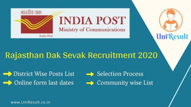Rajasthan Dak Sevak Recruitment 2020