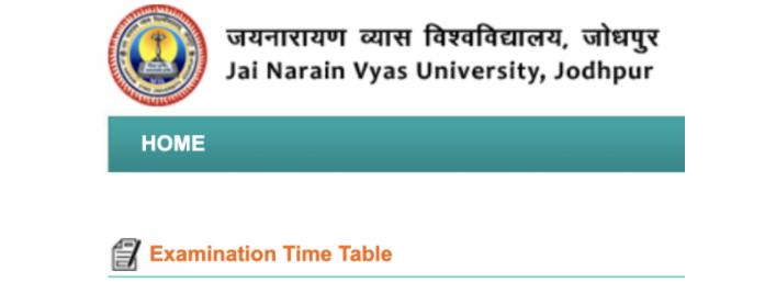 जेएनवीयू जोधपुर बीए प्रथम वर्ष की समय सारणी 2021