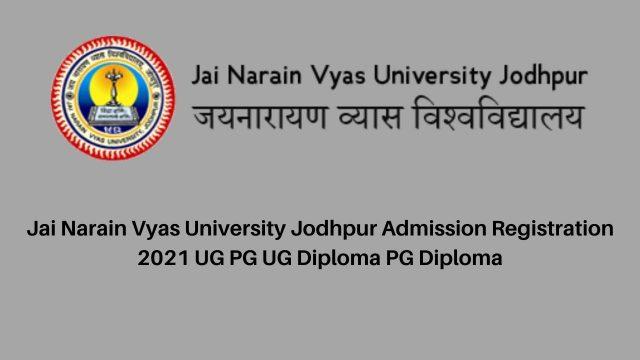 Jai Narain Vyas University Jodhpur BA BSC BCom BCA BBA Exam Form 2021