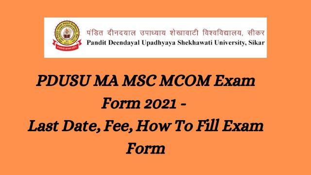 PDUSU MA MSC MCOM Exam Form 2021