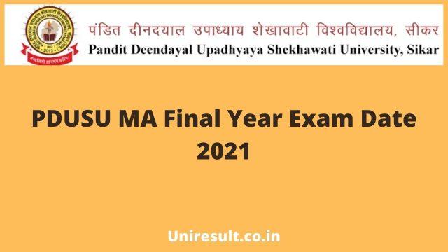 PDUSU MA Final Exam Date