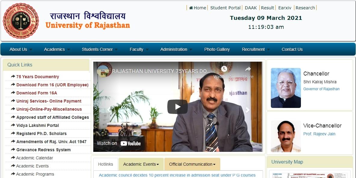 Rajasthan University UG PG Syllabus