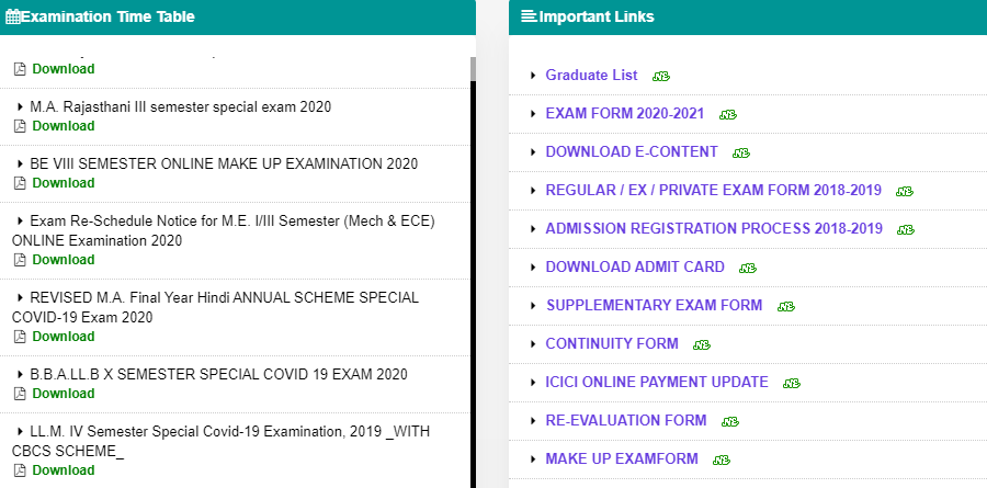 JNVU MSC Final Year Exam Time Table 2021