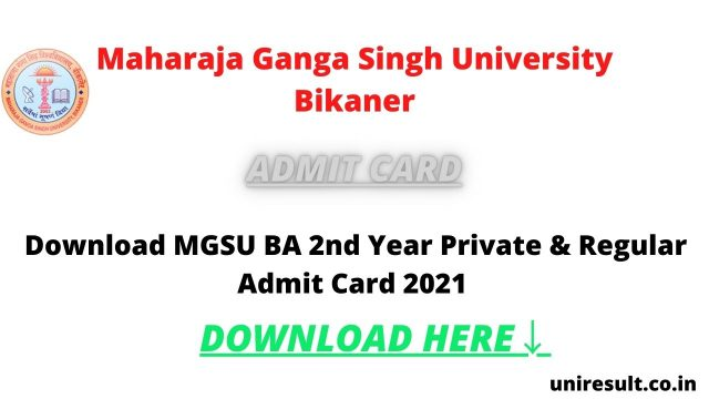 Download MGSU BA 2nd Year Private & Regular Admit Card 2021