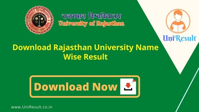 Download Rajasthan University Name Wise Result