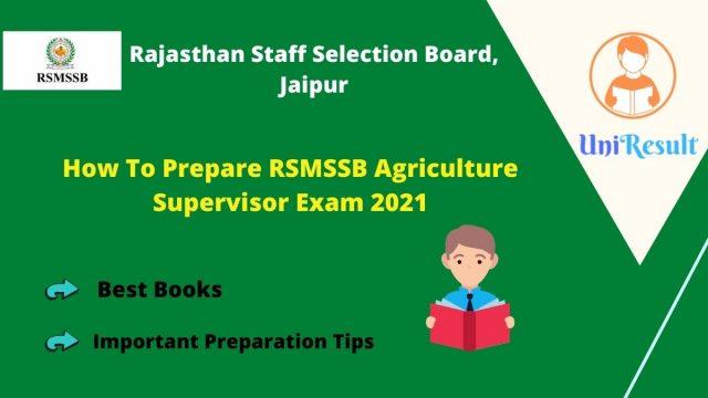 How To Prepare RSMSSB Agriculture Supervisor Exam 2021