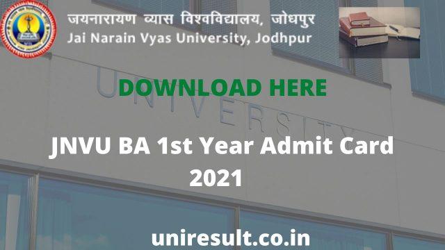 JNVU BA 1st Year Admit Card 2021 Download