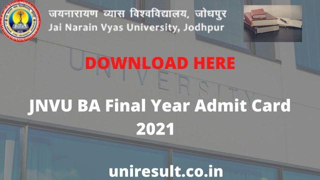 JNVU BA Final Year Admit Card 2021 Download