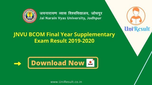 JNVU BCOM Final Year Supplementary Exam Result 2019-2020