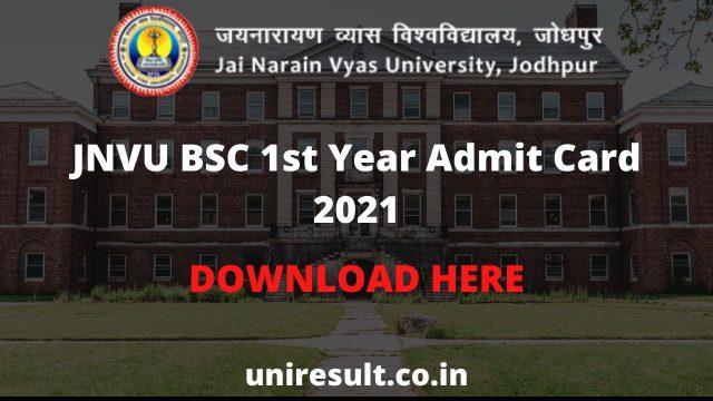 JNVU BSC 1st Year Admit Card 2021