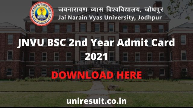 JNVU BSC 2nd Year Admit Card 2021