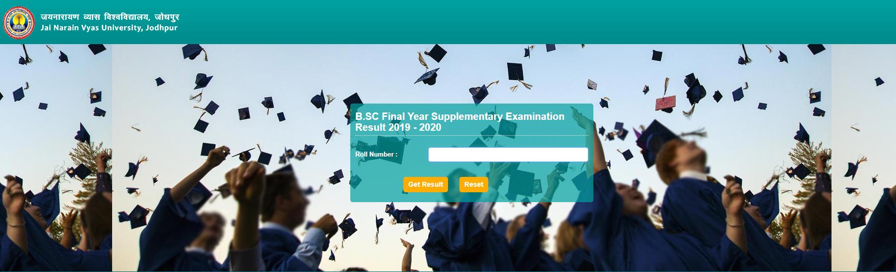 JNVU BSC Final Year Supplementary Exam Result