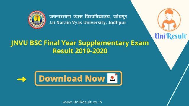 JNVU BSC Final Year Supplementary Exam Result 2019-2020