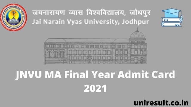 JNVU MA Final Year Admit Card 2021