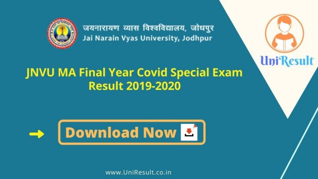 JNVU MA Final Year Covid Special Exam Result 2019-2020