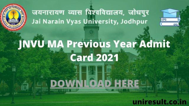 JNVU MA Previous Year Admit Card 2021
