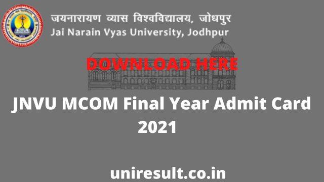 JNVU MCOM Final Year Admit Card 2021 Download