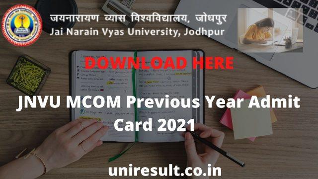 JNVU MCOM Previous Year Admit Card 2021 Download