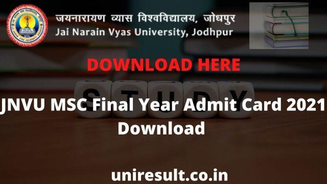 JNVU MSC Final Year Admit Card 2021 Download