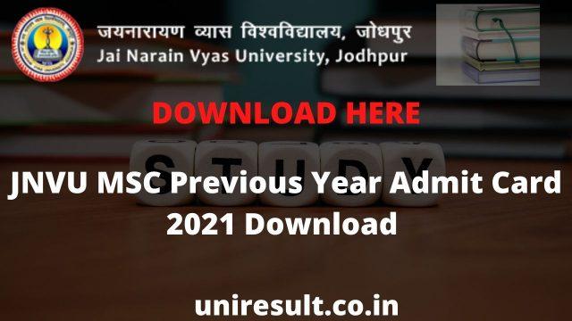 JNVU MSC Previous Year Admit Card 2021 Download