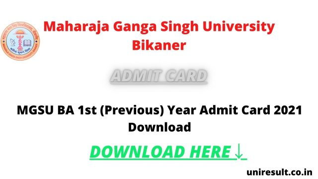 MGSU BA 1st (Previous) Year Admit Card 2021 Download