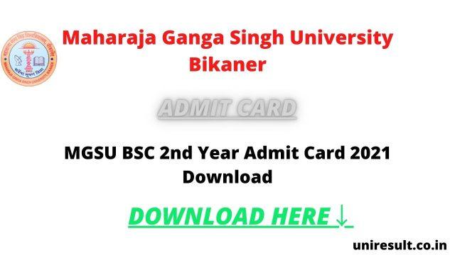 MGSU BSC 2nd Admit Card 2021 Download