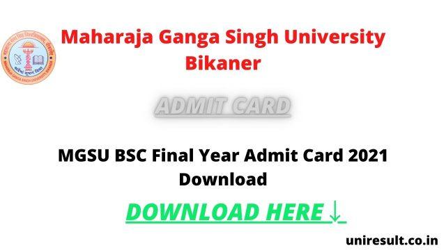 MGSU BSC Final Year Admit Card 2021 Download