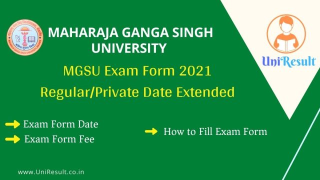 MGSU Exam Form 2021 Regular_Private Date Extended
